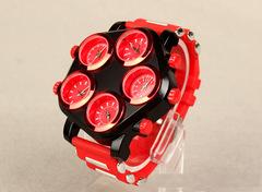 Five movements five dials tide male hip hop watch personality punk men's watch quartz watch red