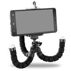 Sponge Octopus Tripod Universal Lazy Phone Holder Portable Camera Tripod Plus Phone Clip black
