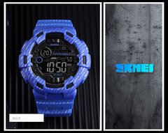 Multifunctional countdown new men's watch waterproof sports electronic watch male blue one size
