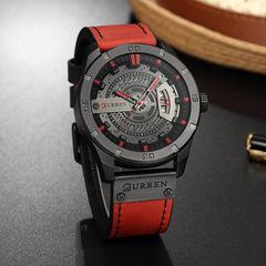 CURREN Carrian Men's Watch Sports Watch Men's Watch Big Dial Fashion Men's Casual Watch red