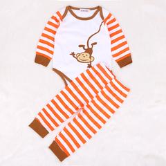 Newborn Set Spring Autumn Baby Boys Clothes Cartoon Stripe Long Sleeve Romper+Pant 2pcs Suit orange 95