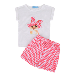 girls clothing sets summer 2018 fashion girls kids cartoon short sleeves rabbit t-shirt+shorts suits pink 100