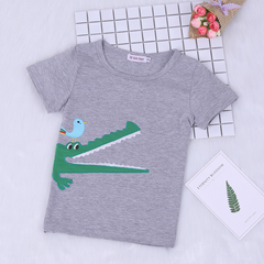 Summer Boy Kids Clothes Fashion Cartoon Crocodile Short Sleeves T-shirt+Lace Plaid Shorts Suits green 120