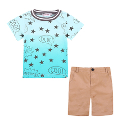 Children Clothing Set Summer Casual Boys Clothes Kids Short Sleeves Stars T-shirt +Shorts Suits photo color 110
