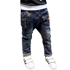 Boys jeans 2019 Fashion Boys Jeans for Spring Fall Trousers Kids Dark Blue Designed Pants photo color 110
