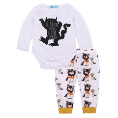 Baby Boy Clothing Set Animal Long Sleeve Top Rompers+Print Pants Suits Kids Clothes Infant photo color 70