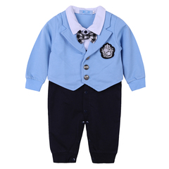 Baby rompers Autumn winter newborn baby boys clothes gentleman Bow tie Long sleeve infant jumpsuits blue 90