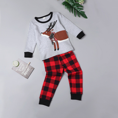 Children Clothing Christmas Red Long Sleeve Print Deer+Plaid Pant Boys 2PCS Pajamas Sets Girls photo color 130