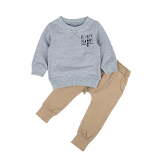 Children Clothing Set Long Sleeve T-shirt+Pant Suits Kids 2 Piece Boys Clothes Fashion 2019 gray 90