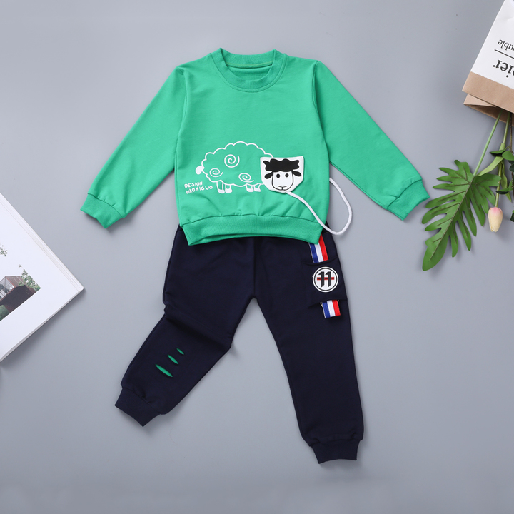 Boys Clothing Sets Kids Sports Suit T-shirt +Pant Tracksuit Baby Sweatshirt Cartoon Casual green 80