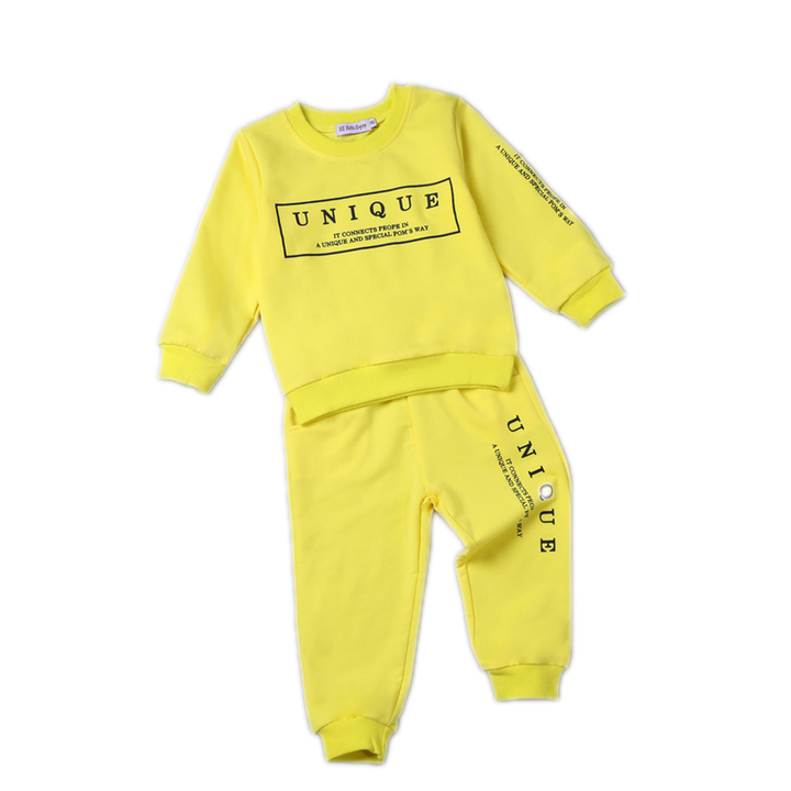 Toddler Boys Clothing Set Autumn Casual Long Sleeve 2 piece Tracksuit Clothes Boys Outfits Sport yellow 100