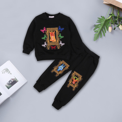 Children Clothing Boys Tracksuit Long Sleeve Embroidery Print Butterfly T-shirt+Pants Sets black 90