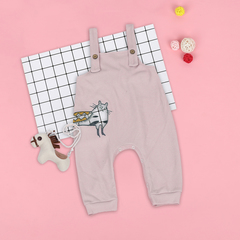 Toddler Pants Overalls Cartoon Animal Cat Baby Boy Girl Pants Spring Autumn Loose Infant Trousers pink 80