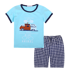 boys clothing sets summer 2019 kids Short sleeve print bicycle t-shirt+plaid suit children clothing blue 100