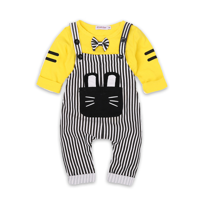 Baby Boy Clothes Autumn 2019 Infant Clothing Sets Cartoon Bow Tops+Stripe Overalls yellow 95