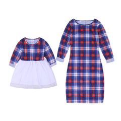 Mother Daughter Dresses Spring Autumn 2019 Matching Outfits Moms And Girls ClothesPlaid Dress photo color 120