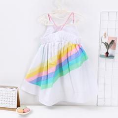 Kids Clothes Dresses For Girls Clothes Summer Condole Belt Rainbow Sea Beach Princess Dress Kids white 100
