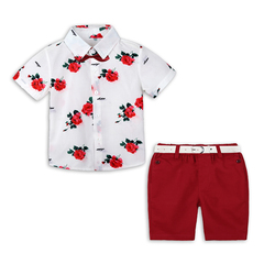 Boys Boutique Clothing Fashion Summer Set Gentleman Print Floral Bow Tie Shirt+Shorts Suits Kids red 110