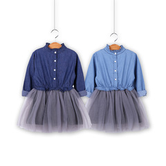 Girl Denim Dresses Spring Autumn kids Dresses Long Sleeve Mesh Princess Dress Children Clothing photo color 90