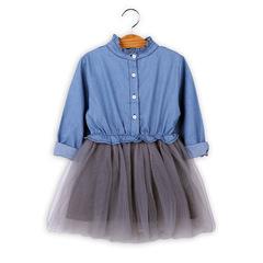 Girl Denim Dresses Spring Autumn kids Dresses Long Sleeve Mesh Princess Dress Children Clothing blue 110
