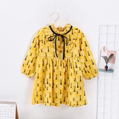 Girl Dress Kids Spring Autumn Children's Girl Clothing 2019 Long Sleeve Princess Dress Fashion yellow 120
