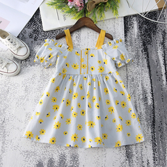 New Summer Kids Clothes Baby Girls Lovely Birthday Clothes Print Flower Off-shoulder Dresses yellow 90