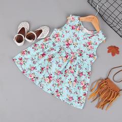 Sleeveless Dress Summer Girl Print Flower Dresses Children Clothes Baby Cotton Princess Dress sky blue 100