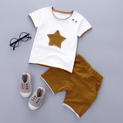2PCS Suit Clothes Children Summer Toddler Boys Clothing Set Cartoon Kids Applique Stars Tops Shorts brown 90