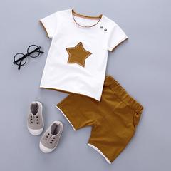 2PCS Suit Clothes Children Summer Toddler Boys Clothing Set Cartoon Kids Applique Stars Tops Shorts brown 90