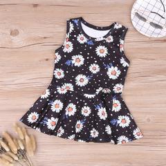 Kids Dresses For Girls Sleeveless Sunflower Dot Vest Princess Dress Floral Girls Dress Summer black 130