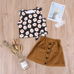 Summer Baby Girls Clothing Set Sleeveless Print Sunflower Vest+Skirt 2pcs Outfit Children's Clothing khaki 130