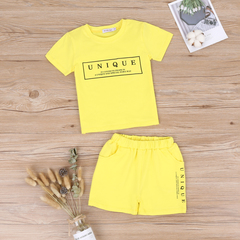 Boys Summer Clothes Tracksuit Short Sleeve Print Letter Sets Toddler Boy Clothing 1-4T Kids yellow 120