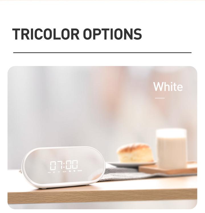 Encok Alarm Clock Bluetooth Speaker Wireless Speaker Sound System 3D Stereo Music Surround Subwoofer Pink E09