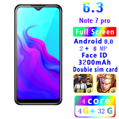 New Phone Bobarry Note7  4+32G 2MP+8MP 2G/3G 6.3Inch 3200mAh Android8.0 smart phone black