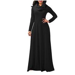 C2NG 2019 Spring Autumn Women Ladies Heap Collar Long Sleeve Side Zipper Maxi Long Dress Scarf Dress black s