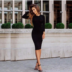C2NG 2019 Women's Hot Style Long Sleeve Dress Pure Color Bag Buttock Sexy 010012 black s