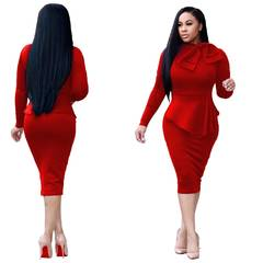 C2NG 2019 New Fashion Pure Solid Color Office Lady OL Dress Elegant Distinguished Female Suit 010014 red s