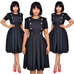 C2NG 2019 Women Business A-line Dress Office Lady OL Pure Solid Color Short Sleeve Mini Dress 010024 black s