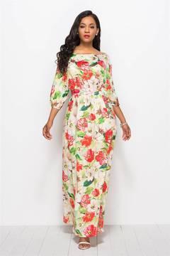 C2NG 2019 Women Long Dresses Slash Neck Floral Print Summer Autumn Party Casual Female Lady 010036 01 l