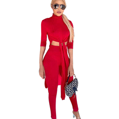 trend Women's autumn and winter new sexy midriff sweater set hot selling knit two sets red wine All code