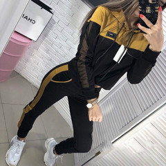 Hot style's new popular two-piece women's mesh patchwork hoodie set for fall 2019 two-piece yellow S