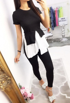 Hot selling sexy hot style set sexy round collar and waist folding and splicing slim suit two-piece black s