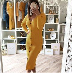 Europe and the United States hot hot style dress fashion round collar button sexy slim dress yellow s
