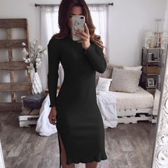 Euramerican autumn sexy hot sell dress sexy round collar slim body design dress black s