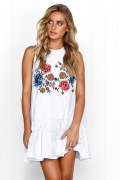 Spring and summer hot style sexy sleeveless feature printed dress dress white s