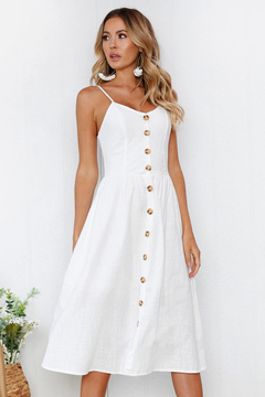 Spring and summer hot style sexy black and white solid color halter button dress white s