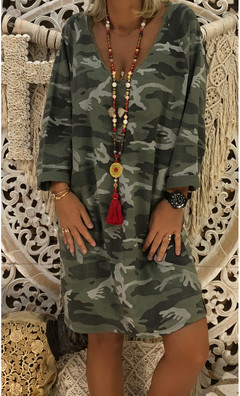 Hot style dress is a hot seller in autumn in Europe and America  Printed loose dress Camouflage printed s