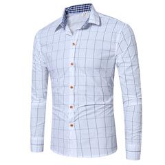 Fashion England simple plaid shirt men's casual plaid long-sleeved shirt ZT-CS02 white s