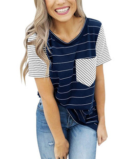 Short sleeve stitching T-shirt and bottom shirt for European and American women's wear Navy blue S