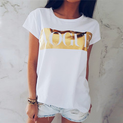 New T-shirt with round collar and short sleeves printed in Europe and America white + gold m